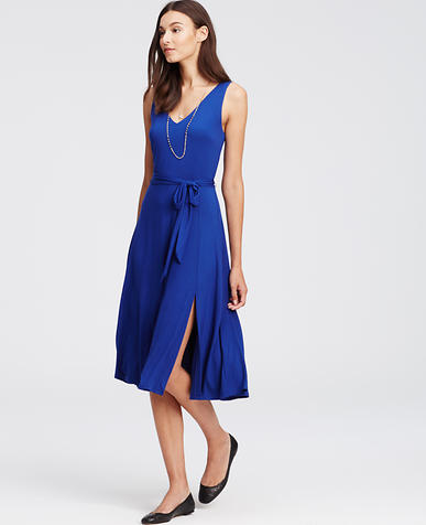 Image of Belted Jersey Midi Dress
