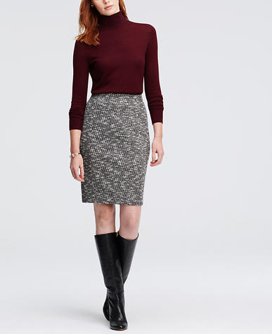 Image of Curvy Bonded Tweed Pencil Skirt