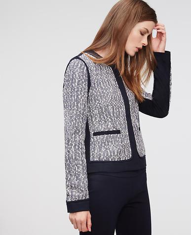 Image of Petite Tweed Piped Jacket