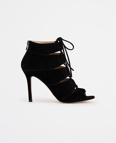 Image of Elaina Suede Lace-Up Peeptoe Booties