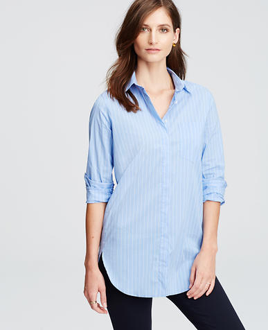 Image of Petite Striped Oversized Shirt