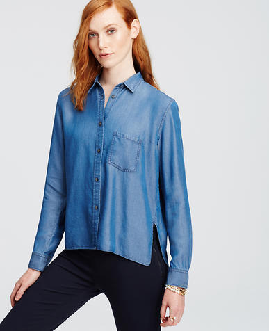 Image of Petite Cropped Chambray Button Down Shirt