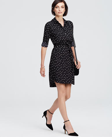 Image of Dotted Crepe Shirtdress