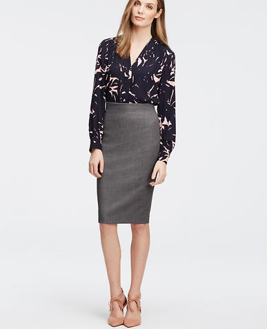 Image of Birdseye High Waist Pencil Skirt