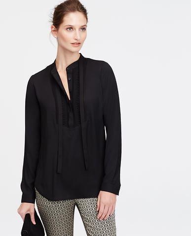Image of Pintuck Tie-Front Blouse