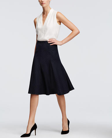 Image of Pinstripe Midi Skirt