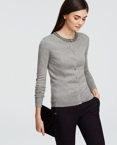 Image of Embellished Neck Ann Cardigan