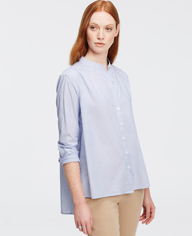 Image of Stripe Cotton Trapeze Shirt