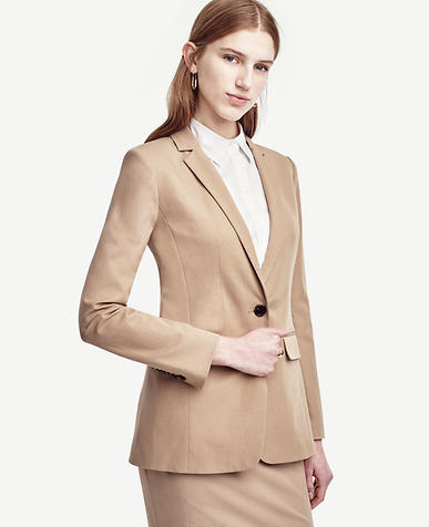 Image of Cotton Blend One Button Jacket