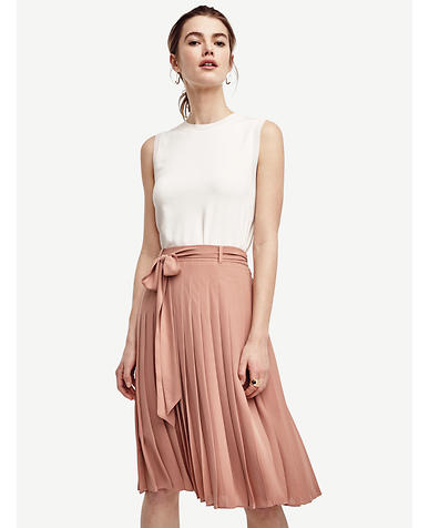 Image of Belted Pleated Skirt