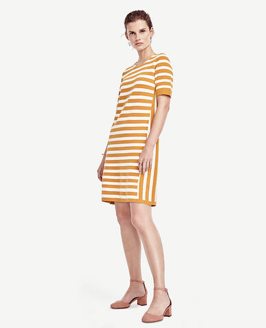 Image of Striped Short Sleeve Sweater Dress