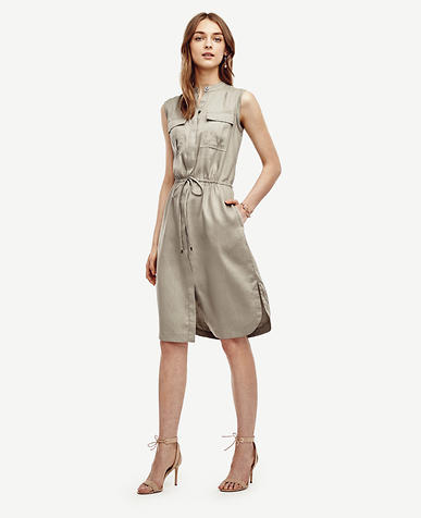 Image of Linen Blend Drawstring Shirtdress