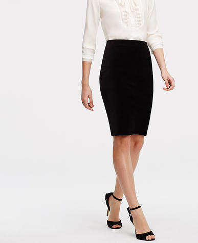 Image of Curvy Velvet Pencil Skirt