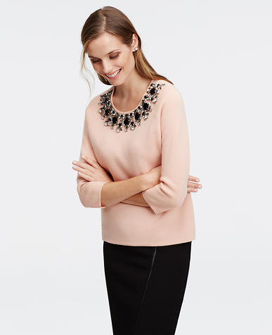 Image of Embellished Neck Sweater
