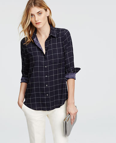 Image of Petite Windowpane Camp Shirt