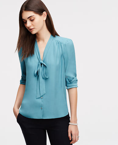 Image of Tie Neck Blouse