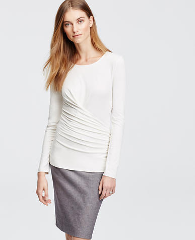 Image of Ruched Long Sleeve Top