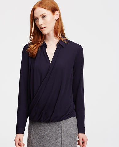 Image of Collared Wrap Front Blouse