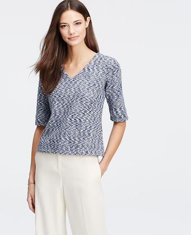 Image of Diamond Weave V-Neck Top
