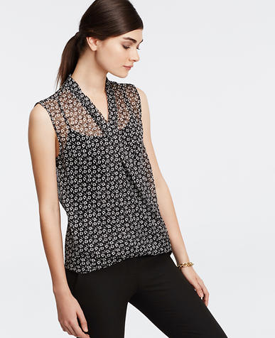 Image of Floral Sleeveless Wrap Blouse