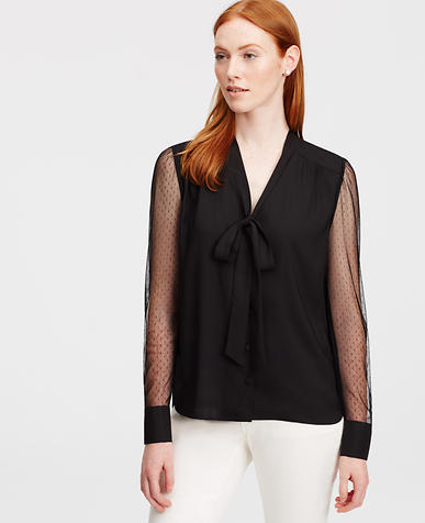 Image of Sheer Sleeve Tie Neck Blouse