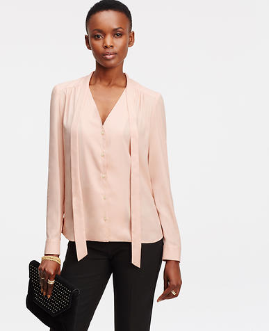 Image of Petite Tie Neck Blouse