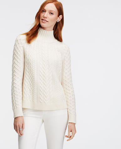 Image of Mock Neck Cable Sweater