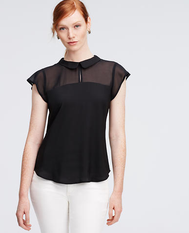 Image of Petite Collared Chiffon Top