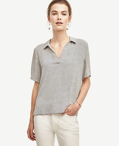 Image of Dot Collared V-Neck Shirt