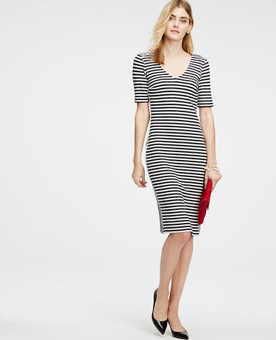 Image of Striped Double V Sheath Dress