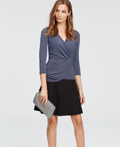 Image of Petite Squared Crepe 3/4 Sleeve Wrap Top
