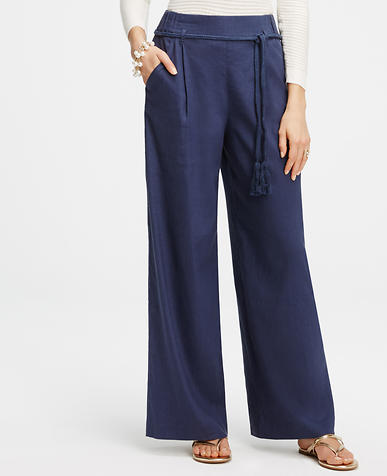 Image of Belted Linen Blend Pants