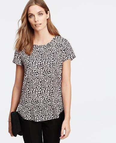 Image of Petite Leopard Print Dressy Tee