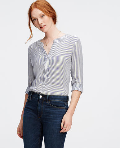 Image of Silky Striped Blouse