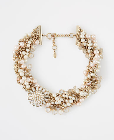 Image of Pearlized Brooch Statement Necklace