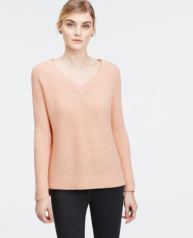 Image of Ribbed V-Neck Sweater