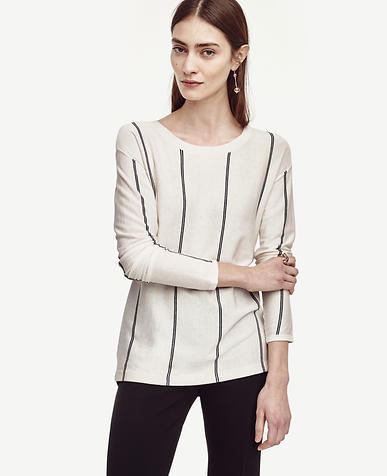 Image of Vertical Stripe Boatneck Sweater