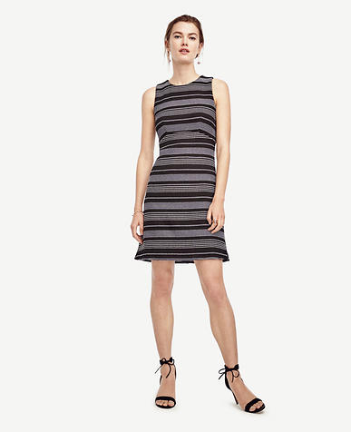 Image of Stripe Tweed Curve Seam Flare Dress