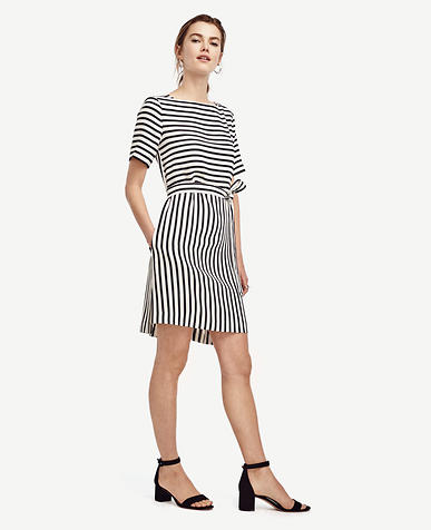 Image of Stripe Belted Boatneck Dress