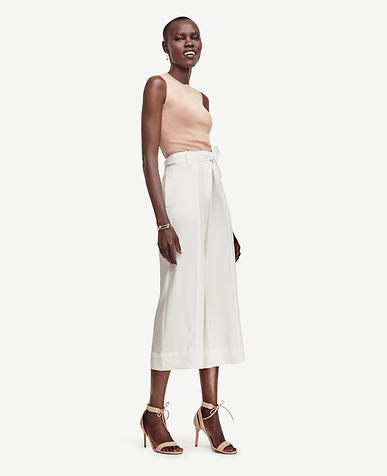 Image of Tie Waist Cropped Wide Leg Pants
