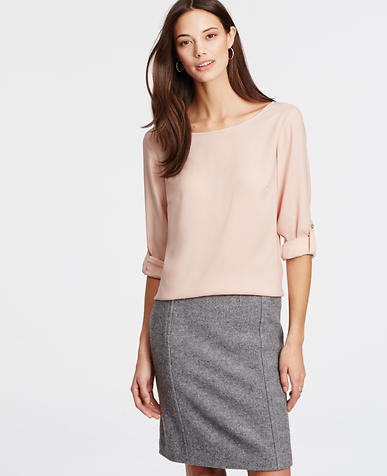 Image of Crepe Roll Sleeve Top