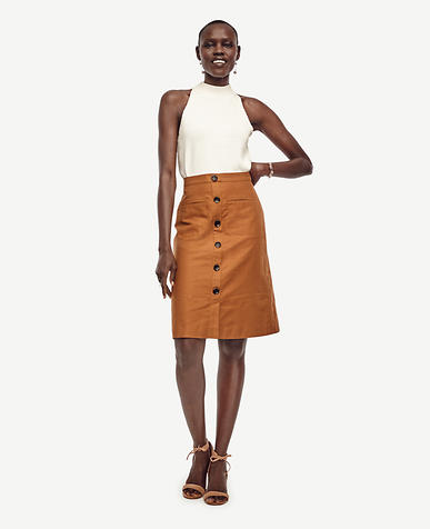Image of Linen Button Skirt