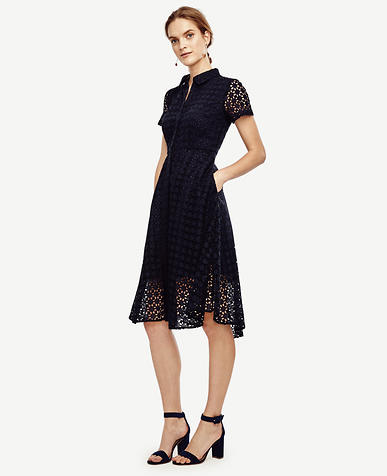 Image of Eyelet Flare Shirtdress