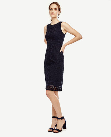 Image of Floral Eyelet Sheath Dress