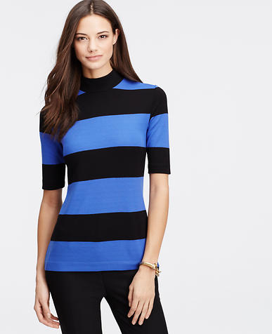 Image of Striped Funnel Neck Top