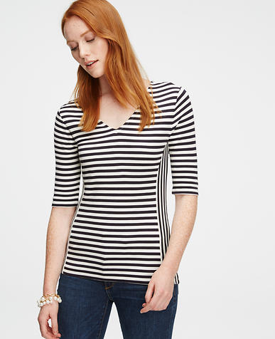 Image of Striped Double V Top