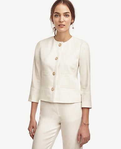 Image of Linen Blend Pocket Jacket