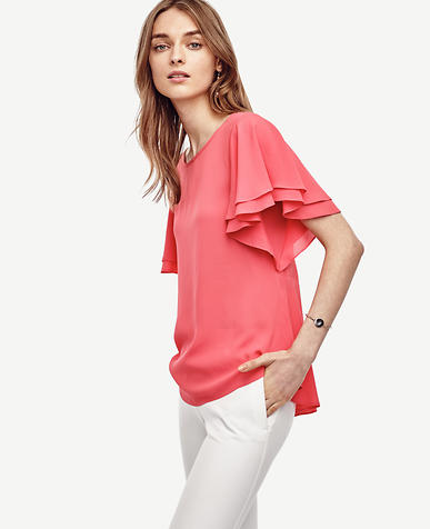 Image of Back Peplum Flutter Top