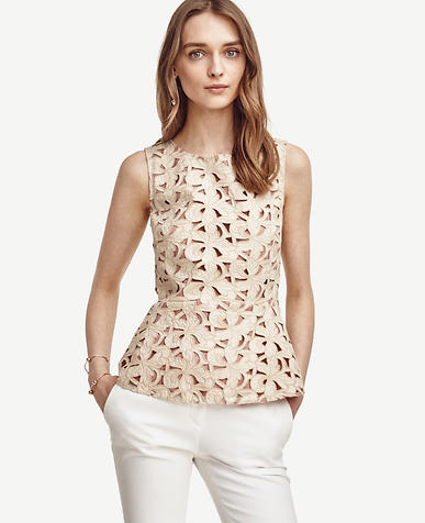 Image of Floral Cut Peplum Tank