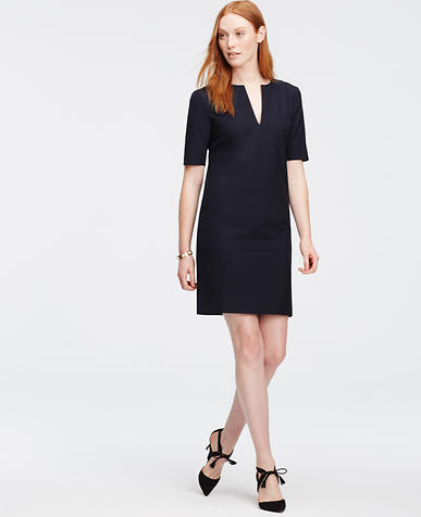 Image of All-Season Stretch Split Neck Shift Dress